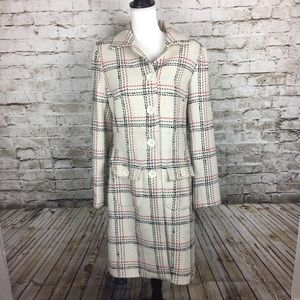Ben Sherman winter white plaid wool coat